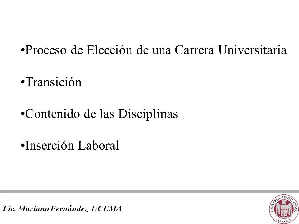 Proceso de Elección de una Carrera Universitaria Transición Contenido de las Disciplinas Inserción Laboral Lic.