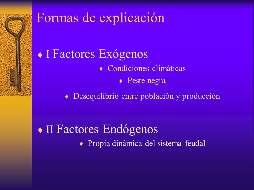 Formas de explicación I Factores Exógenos Condiciones climáticas Peste negra Desequilibrio entre población y producción II Factores Endógenos Propia d