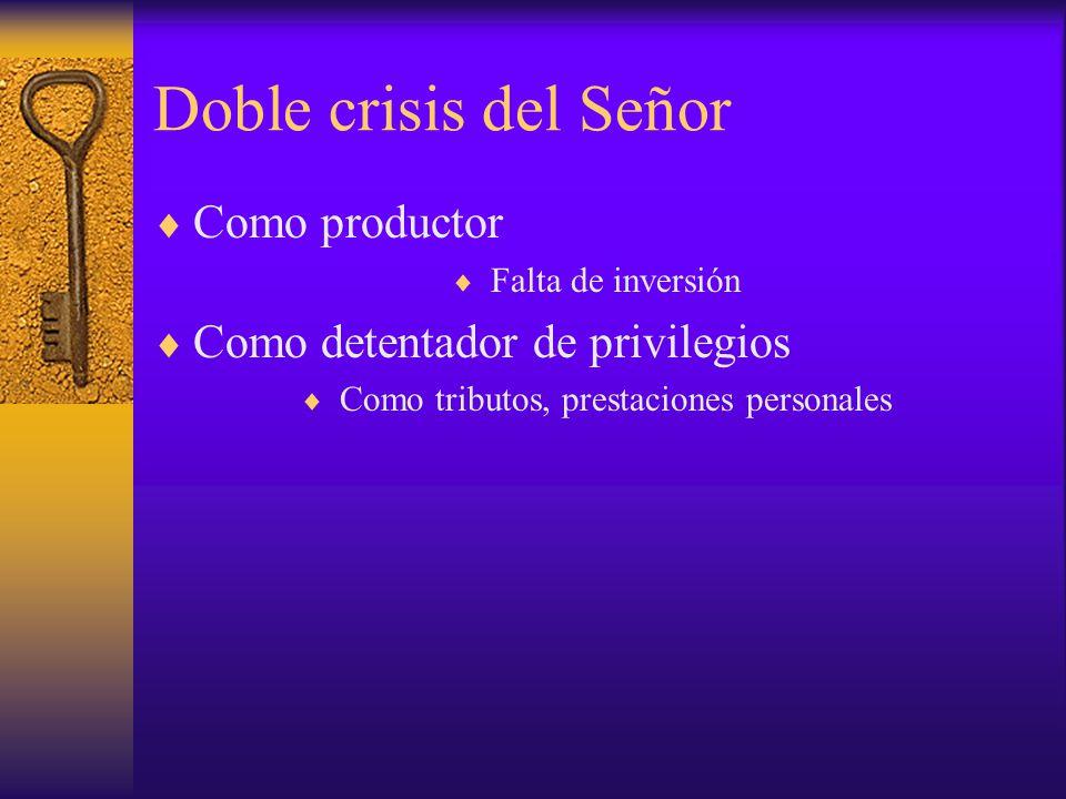 Doble crisis del Señor Como productor Falta de inversión Como detentador de privilegios Como tributos, prestaciones personales