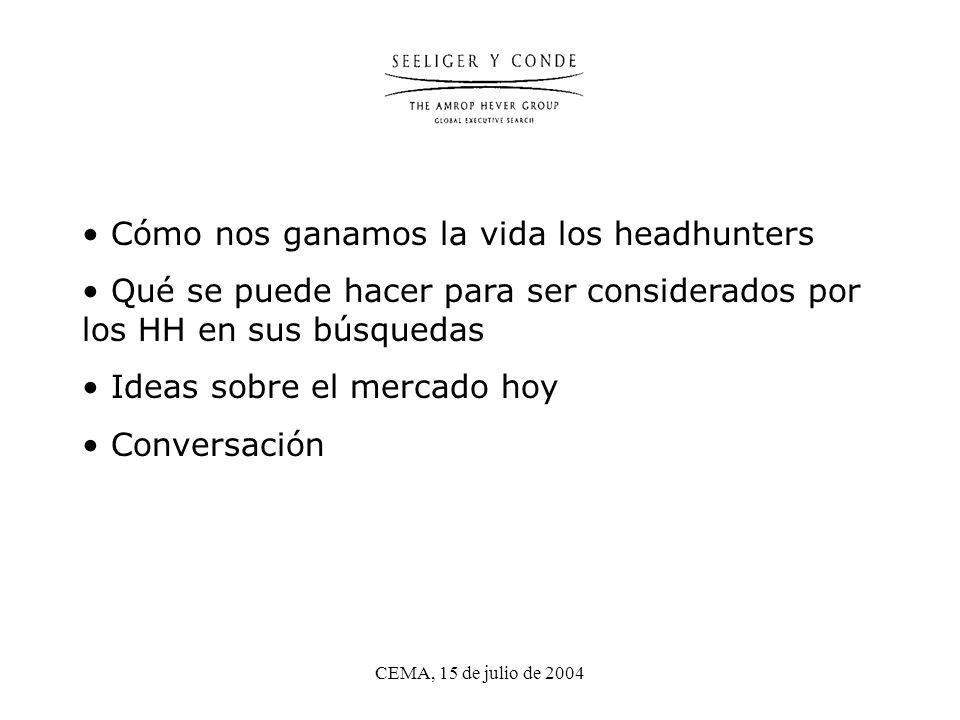 CEMA, 15 de julio de 2004 Cómo nos ganamos la vida los headhunters Qué se puede hacer para ser considerados por los HH en sus búsquedas Ideas sobre el mercado hoy Conversación