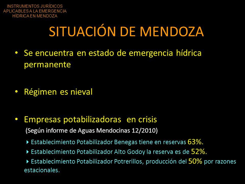 SITUACIÓN DE MENDOZA Se encuentra en estado de emergencia hídrica permanente Régimen es nieval Empresas potabilizadoras en crisis (Según informe de Ag