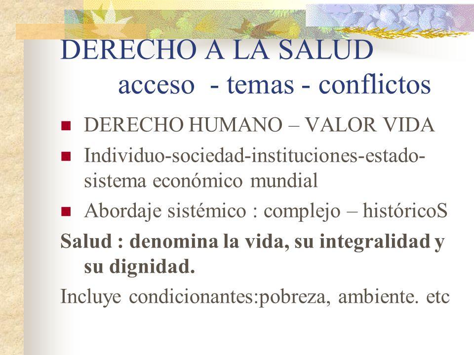 DERECHO A LA SALUD acceso - temas - conflictos DERECHO HUMANO – VALOR VIDA Individuo-sociedad-instituciones-estado- sistema económico mundial Abordaje