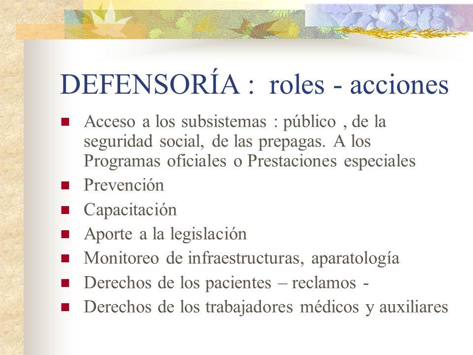 DEFENSORÍA : roles - acciones Acceso a los subsistemas : público, de la seguridad social, de las prepagas. A los Programas oficiales o Prestaciones es