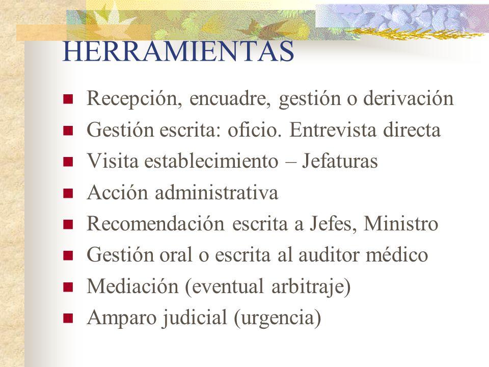 HERRAMIENTAS Recepción, encuadre, gestión o derivación Gestión escrita: oficio. Entrevista directa Visita establecimiento – Jefaturas Acción administr