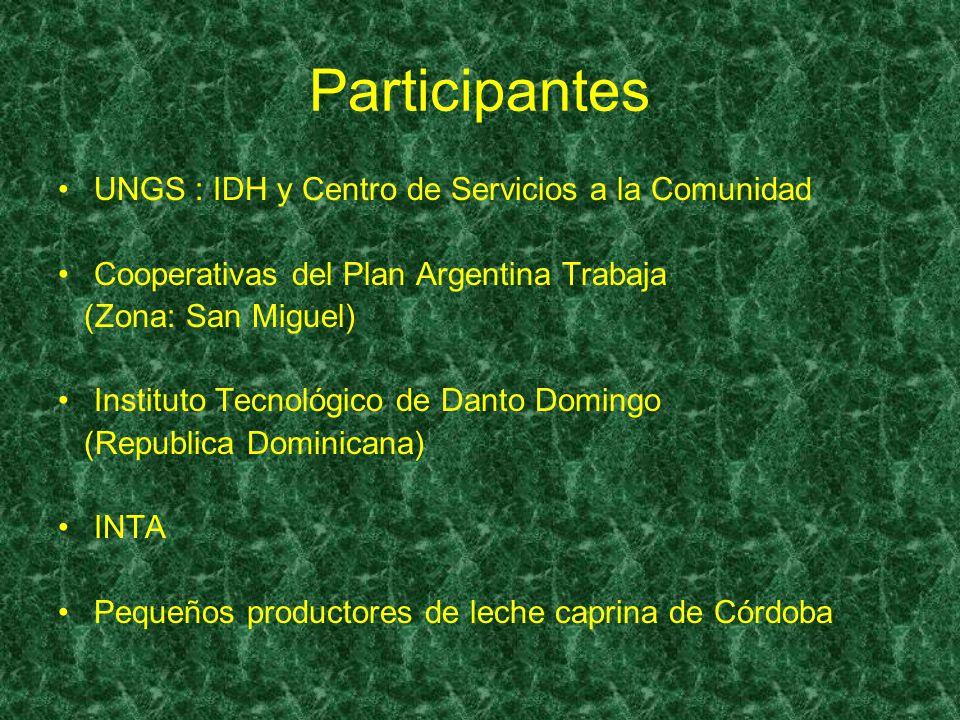 Participantes UNGS : IDH y Centro de Servicios a la Comunidad Cooperativas del Plan Argentina Trabaja (Zona: San Miguel) Instituto Tecnológico de Dant