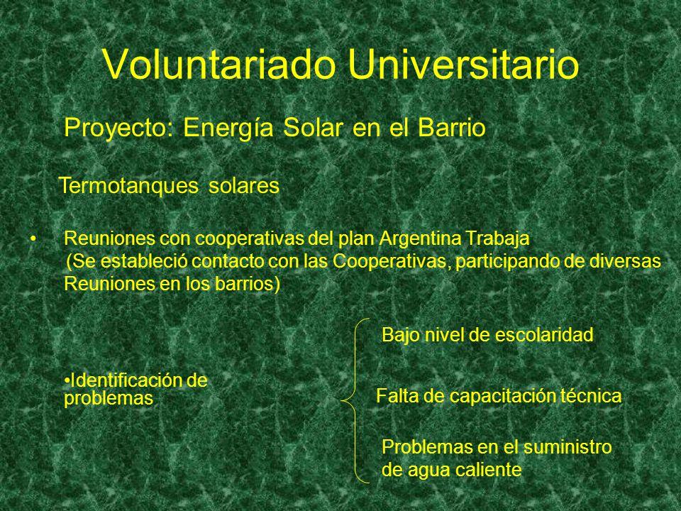 Voluntariado Universitario Reuniones con cooperativas del plan Argentina Trabaja (Se estableció contacto con las Cooperativas, participando de diversa