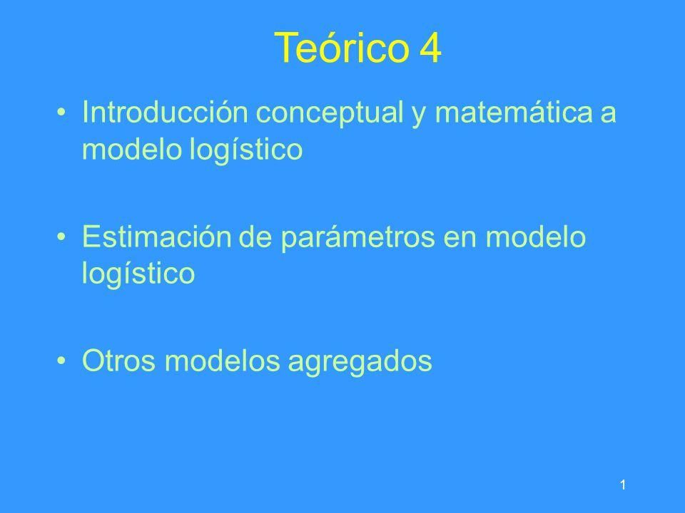 1 Teórico 4 Introducción conceptual y matemática a modelo logístico Estimación de parámetros en modelo logístico Otros modelos agregados