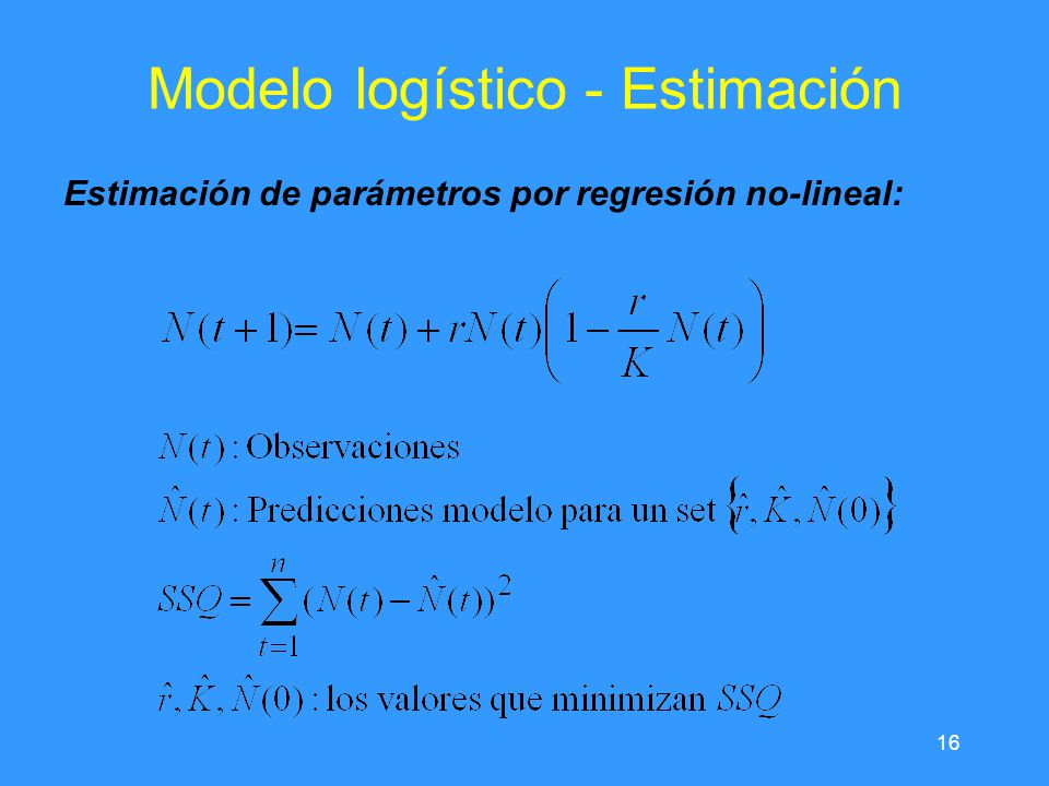 16 Modelo logístico - Estimación Estimación de parámetros por regresión no-lineal: