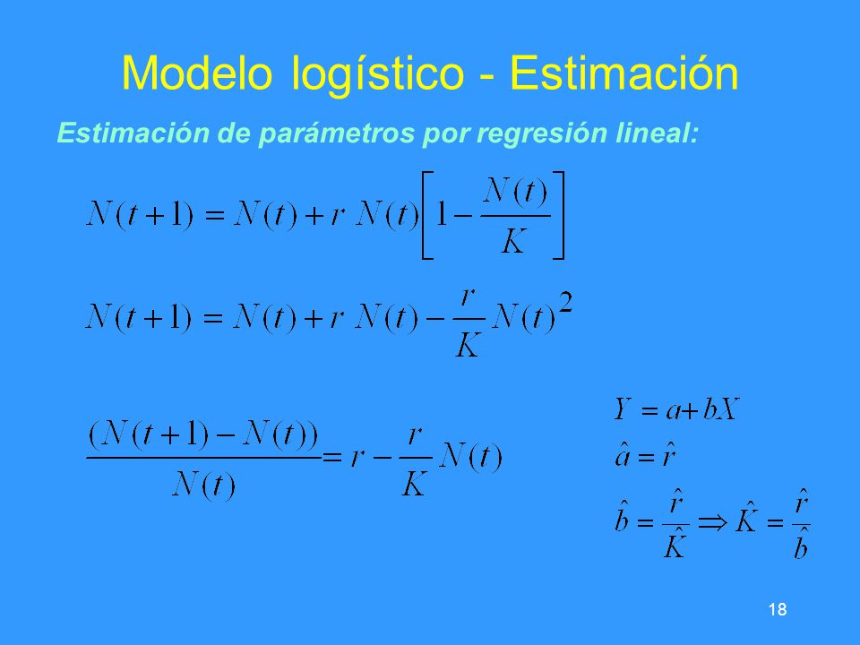 18 Modelo logístico - Estimación Estimación de parámetros por regresión lineal: