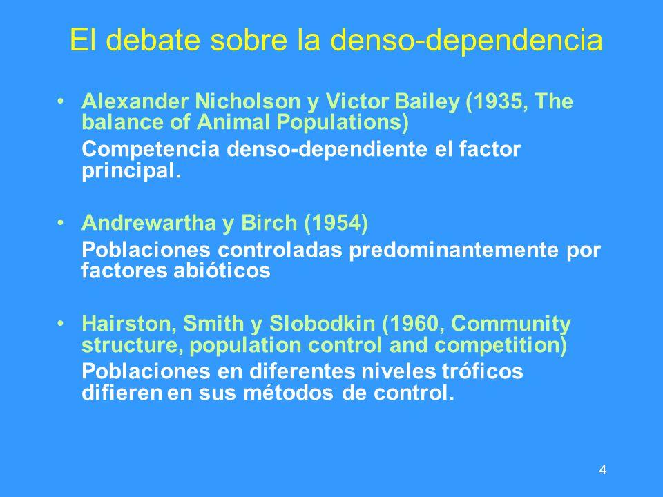 4 El debate sobre la denso-dependencia Alexander Nicholson y Victor Bailey (1935, The balance of Animal Populations) Competencia denso-dependiente el factor principal.