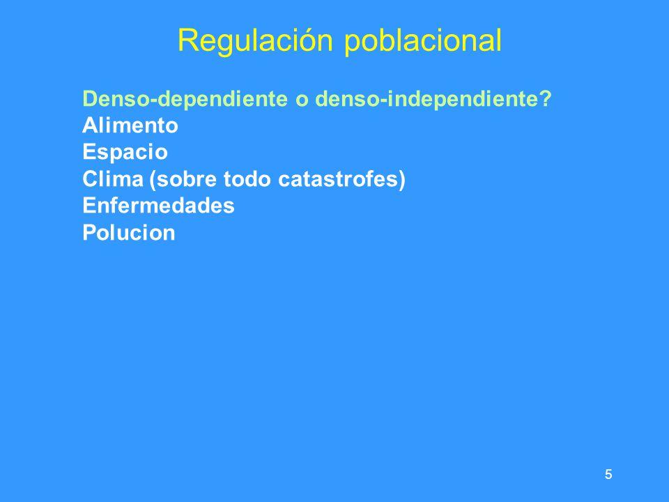 5 Regulación poblacional Denso-dependiente o denso-independiente.