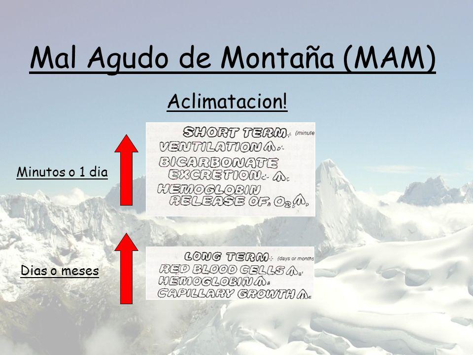 Mal Agudo de Montaña (MAM) Aclimatacion! Minutos o 1 dia Dias o meses