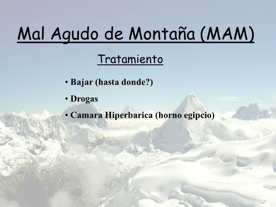 Mal Agudo de Montaña (MAM) Tratamiento Bajar (hasta donde?) Drogas Camara Hiperbarica (horno egipcio)