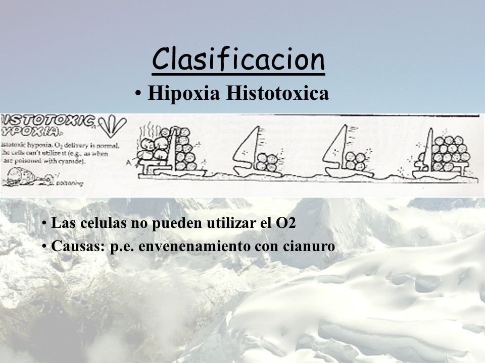 Clasificacion Hipoxia Histotoxica Las celulas no pueden utilizar el O2 Causas: p.e. envenenamiento con cianuro