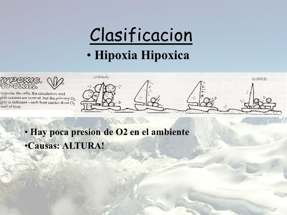Clasificacion Hipoxia Hipoxica Hay poca presion de O2 en el ambiente Causas: ALTURA!