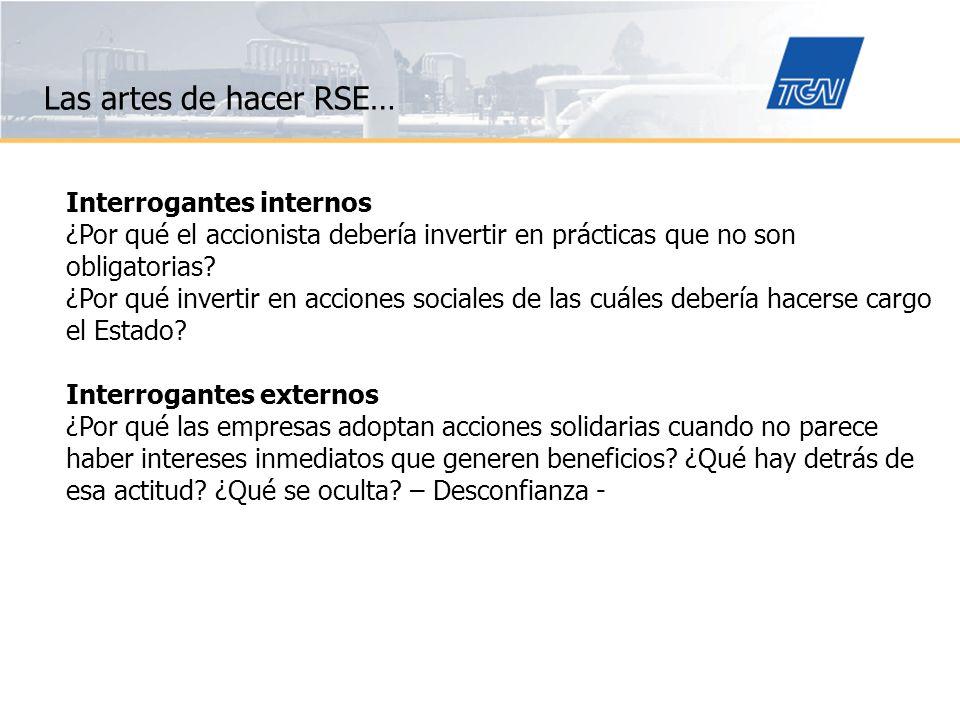 Las artes de hacer RSE… Propósitos de la gestión de RSE: Contribuir a la construcción del capital social necesario para que emprendimientos y negocios sean sustentables.