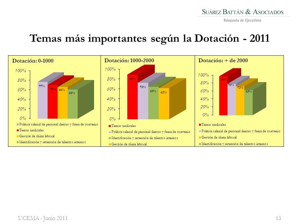 Temas más importantes según la Dotación - 2011 UCEMA - Junio 201113