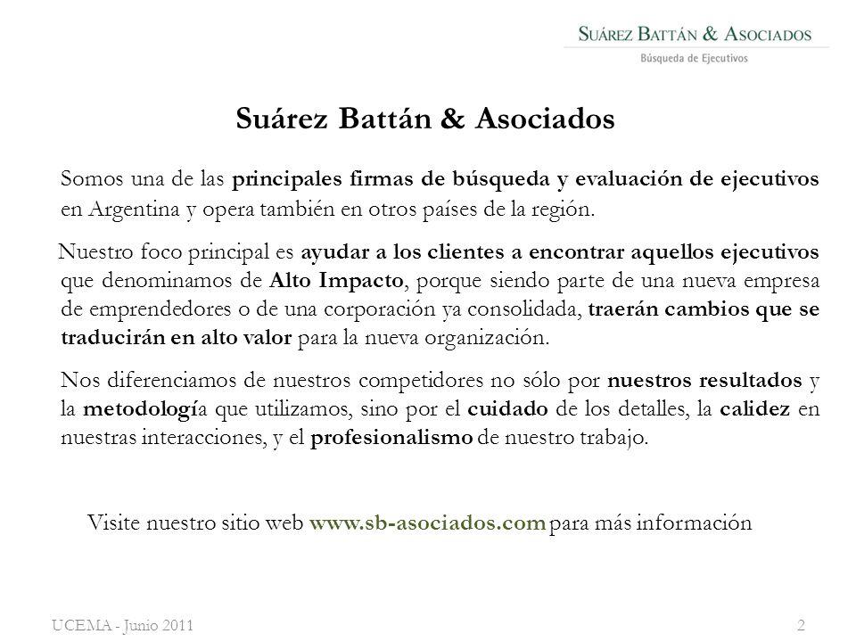 Suárez Battán & Asociados UCEMA - Junio 20112 Somos una de las principales firmas de búsqueda y evaluación de ejecutivos en Argentina y opera también en otros países de la región.