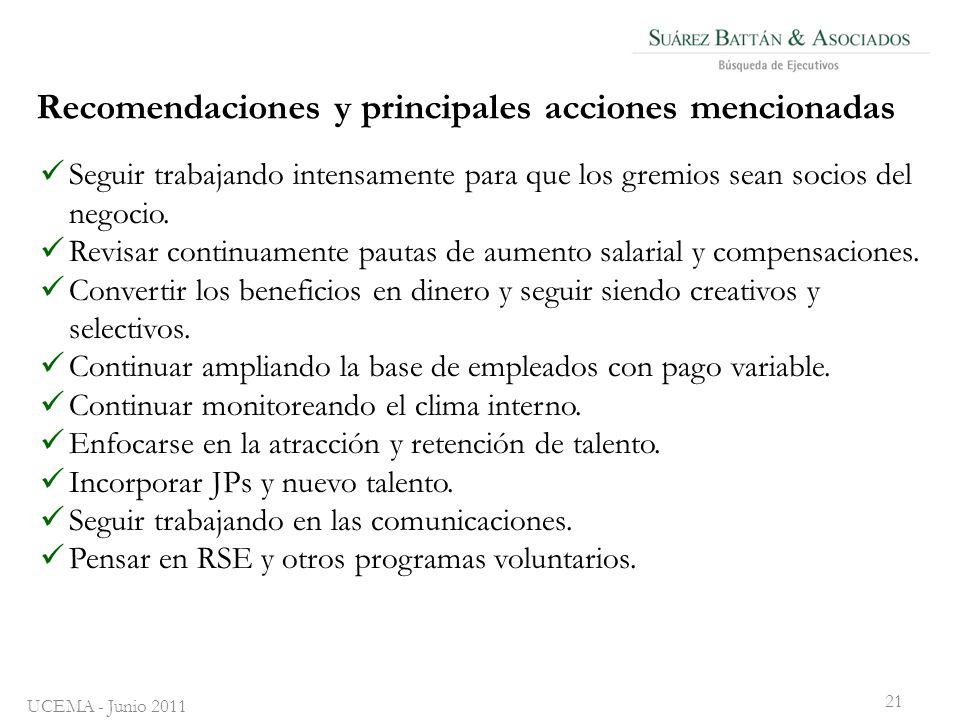 Recomendaciones y principales acciones mencionadas Seguir trabajando intensamente para que los gremios sean socios del negocio.