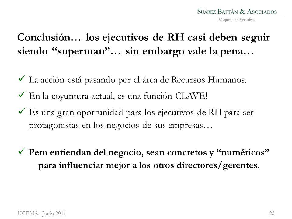 Conclusión… los ejecutivos de RH casi deben seguir siendo superman… sin embargo vale la pena… La acción está pasando por el área de Recursos Humanos.