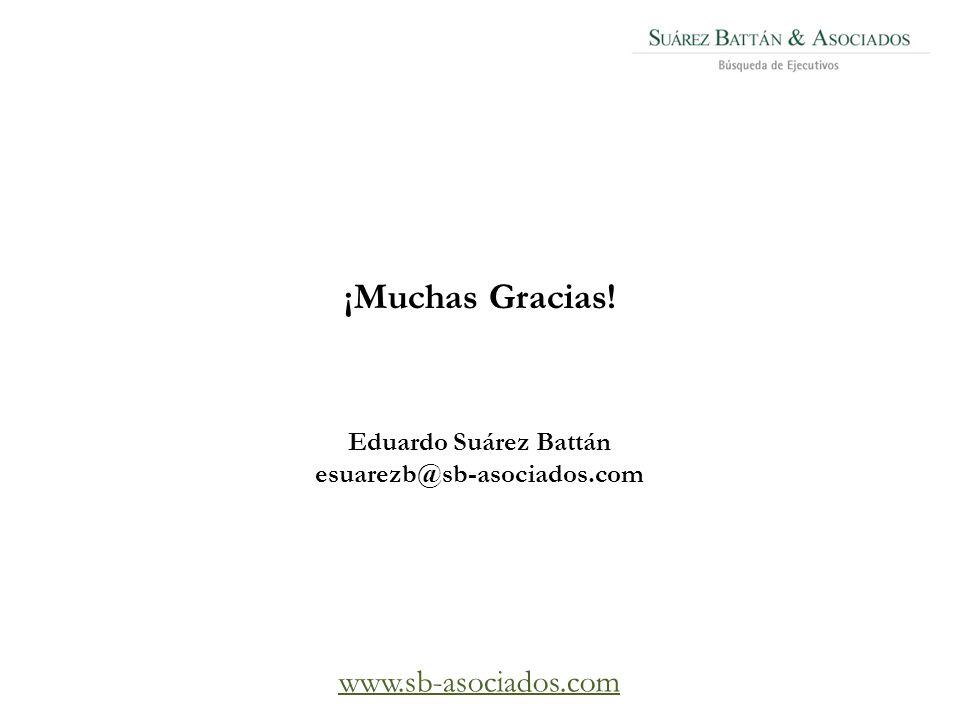 ¡Muchas Gracias! Eduardo Suárez Battán esuarezb@sb-asociados.com www.sb-asociados.com