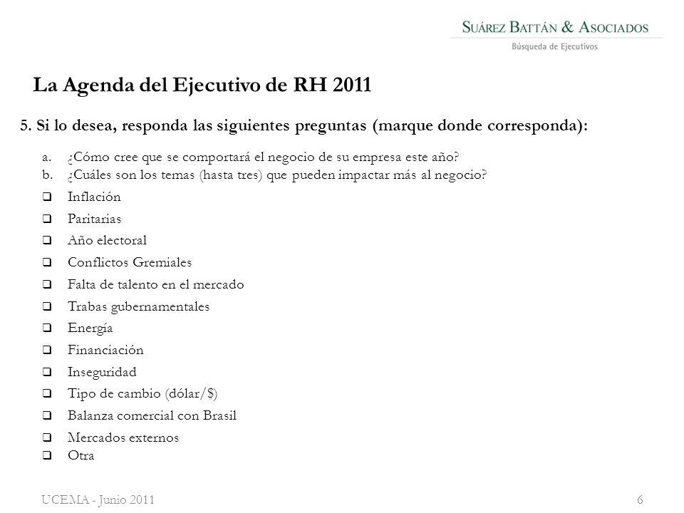 La Agenda del Ejecutivo de RH 2011 a.¿Cómo cree que se comportará el negocio de su empresa este año.