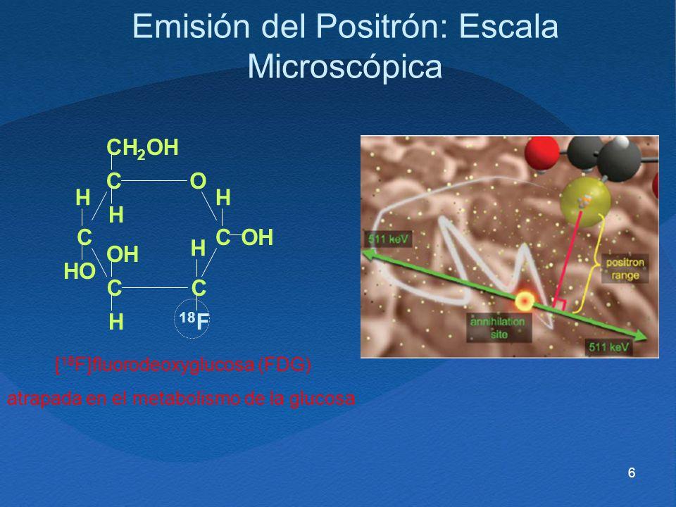 6 [ 18 F]fluorodeoxyglucosa (FDG) atrapada en el metabolismo de la glucosa CO CC CC CH 2 OH H H HH H HO OH 18 F Emisión del Positrón: Escala Microscóp