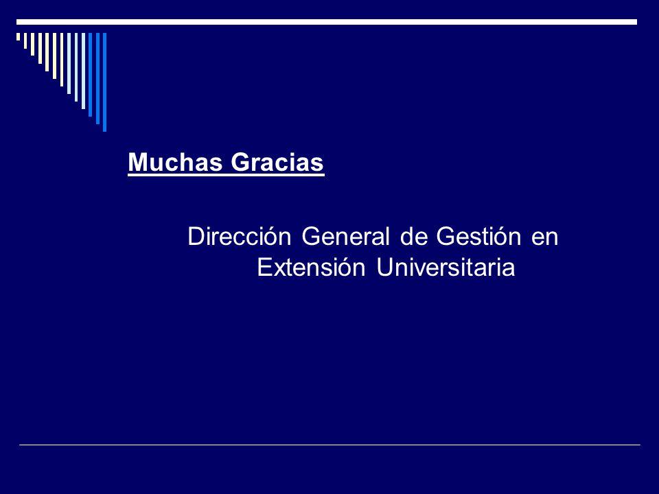 Muchas Gracias Dirección General de Gestión en Extensión Universitaria