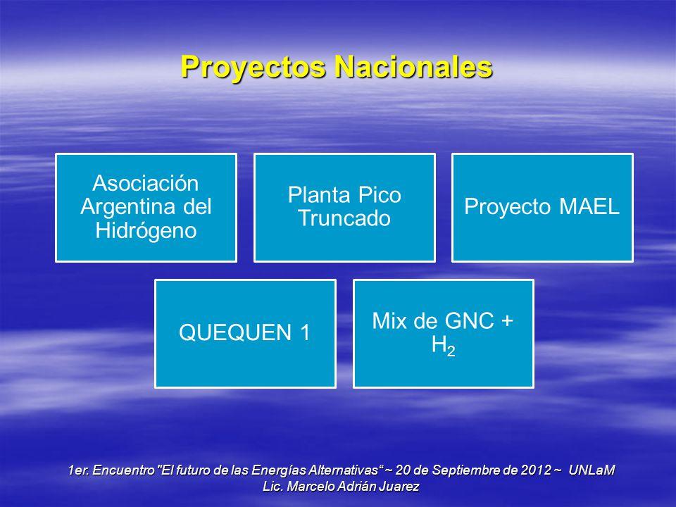 Proyectos Nacionales Asociación Argentina del Hidrógeno Planta Pico Truncado Proyecto MAEL QUEQUEN 1 Mix de GNC + H2 1er. Encuentro