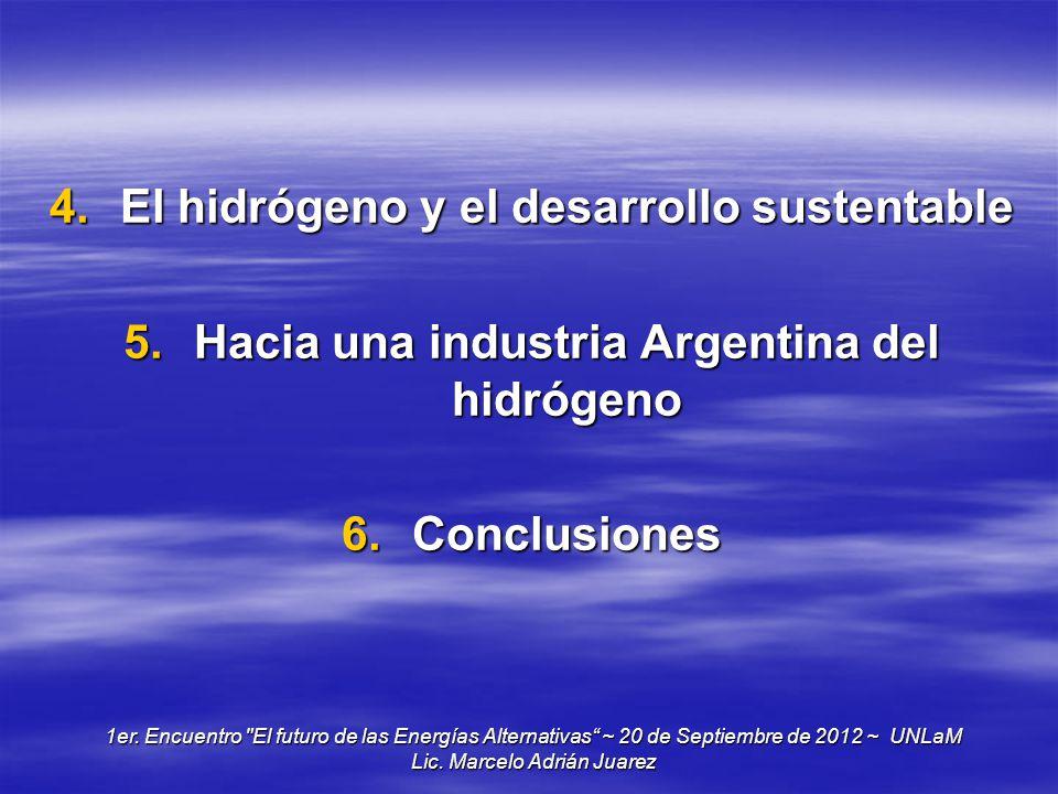 4.El hidrógeno y el desarrollo sustentable 5.Hacia una industria Argentina del hidrógeno 6.Conclusiones 1er. Encuentro