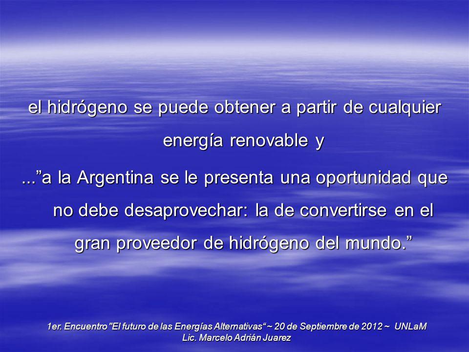 el hidrógeno se puede obtener a partir de cualquier energía renovable y...a la Argentina se le presenta una oportunidad que no debe desaprovechar: la