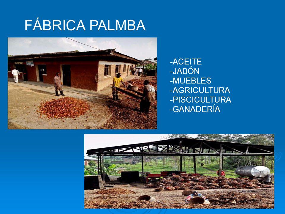 FÁBRICA PALMBA -ACEITE -JABÓN -MUEBLES -AGRICULTURA -PISCICULTURA -GANADERÍA