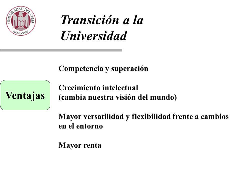 Transición a la Universidad Ventajas Competencia y superación Crecimiento intelectual (cambia nuestra visión del mundo) Mayor versatilidad y flexibilidad frente a cambios en el entorno Mayor renta