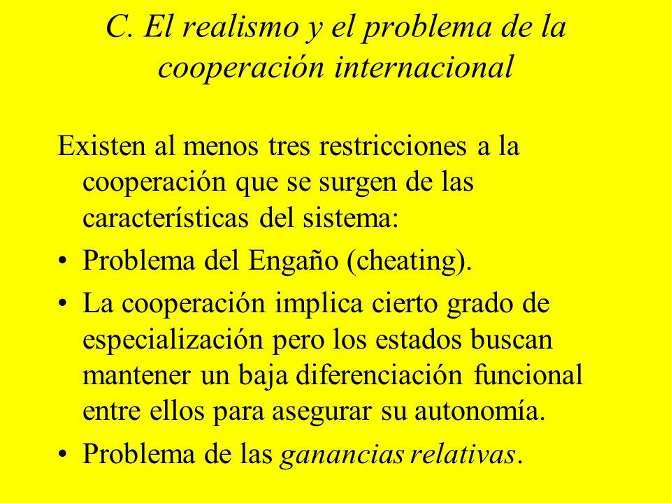 C. El realismo y el problema de la cooperación internacional Existen al menos tres restricciones a la cooperación que se surgen de las características