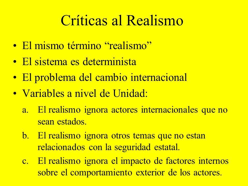 Críticas al Realismo El mismo término realismo El sistema es determinista El problema del cambio internacional Variables a nivel de Unidad: a.El reali