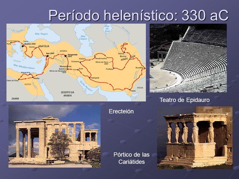 Período helenístico: 330 aC Teatro de Epidauro Pórtico de las Cariátides Erecteión