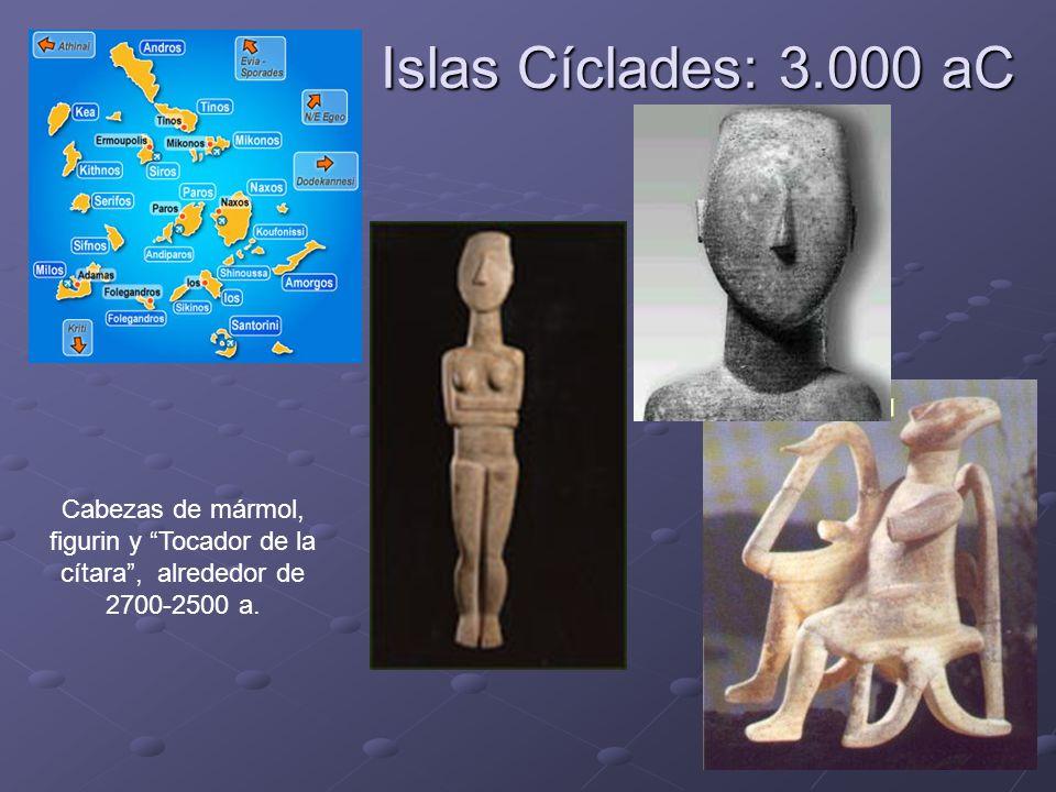 Islas Cíclades: 3.000 aC Cabezas de mármol, figurin y Tocador de la cítara, alrededor de 2700-2500 a.