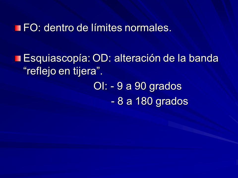 FO: dentro de límites normales. Esquiascopía: OD: alteración de la banda reflejo en tijera. OI: - 9 a 90 grados OI: - 9 a 90 grados - 8 a 180 grados -