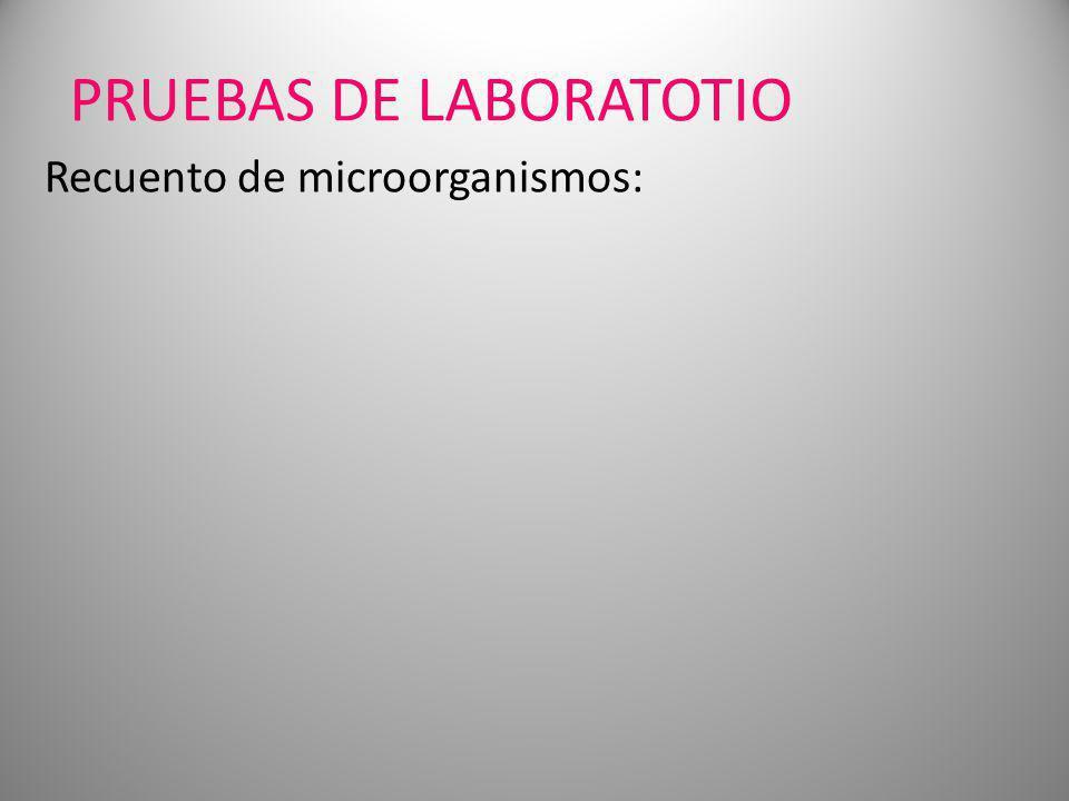 PRUEBAS DE LABORATOTIO Recuento de microorganismos: