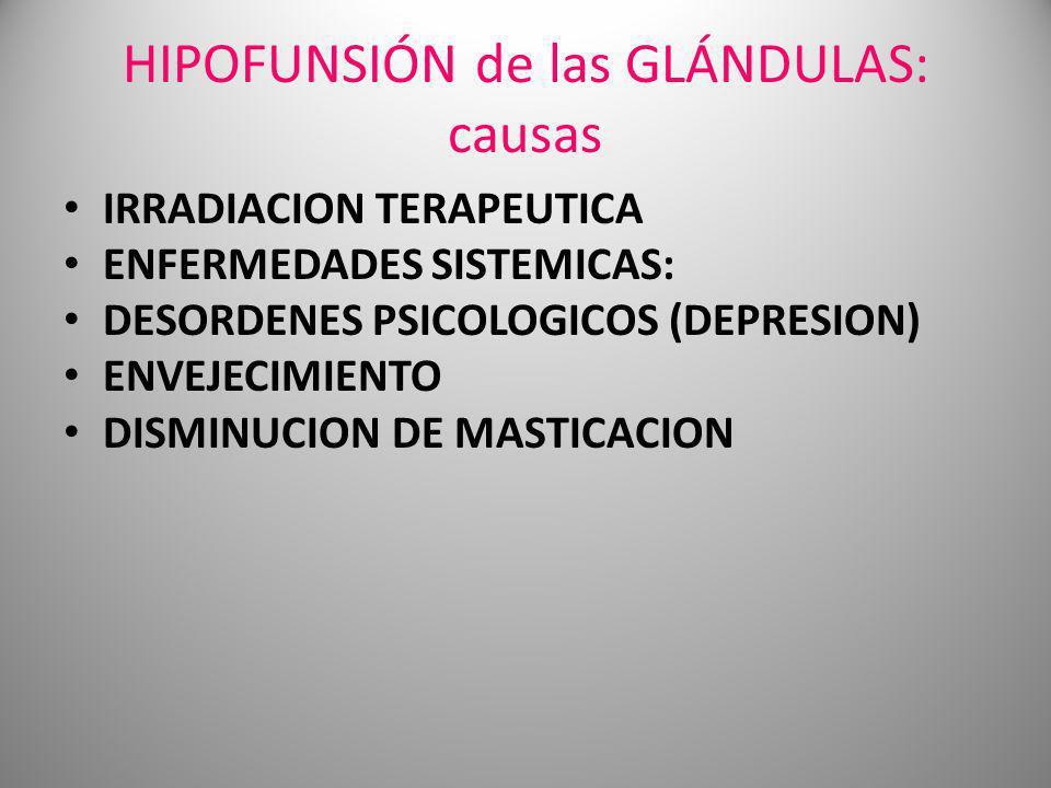 HIPOFUNSIÓN de las GLÁNDULAS: causas IRRADIACION TERAPEUTICA ENFERMEDADES SISTEMICAS: DESORDENES PSICOLOGICOS (DEPRESION) ENVEJECIMIENTO DISMINUCION D