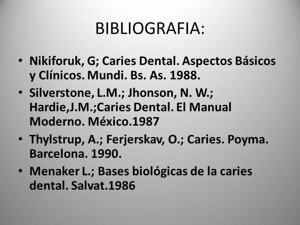 BIBLIOGRAFIA: Nikiforuk, G; Caries Dental. Aspectos Básicos y Clínicos. Mundi. Bs. As. 1988. Silverstone, L.M.; Jhonson, N. W.; Hardie,J.M.;Caries Den
