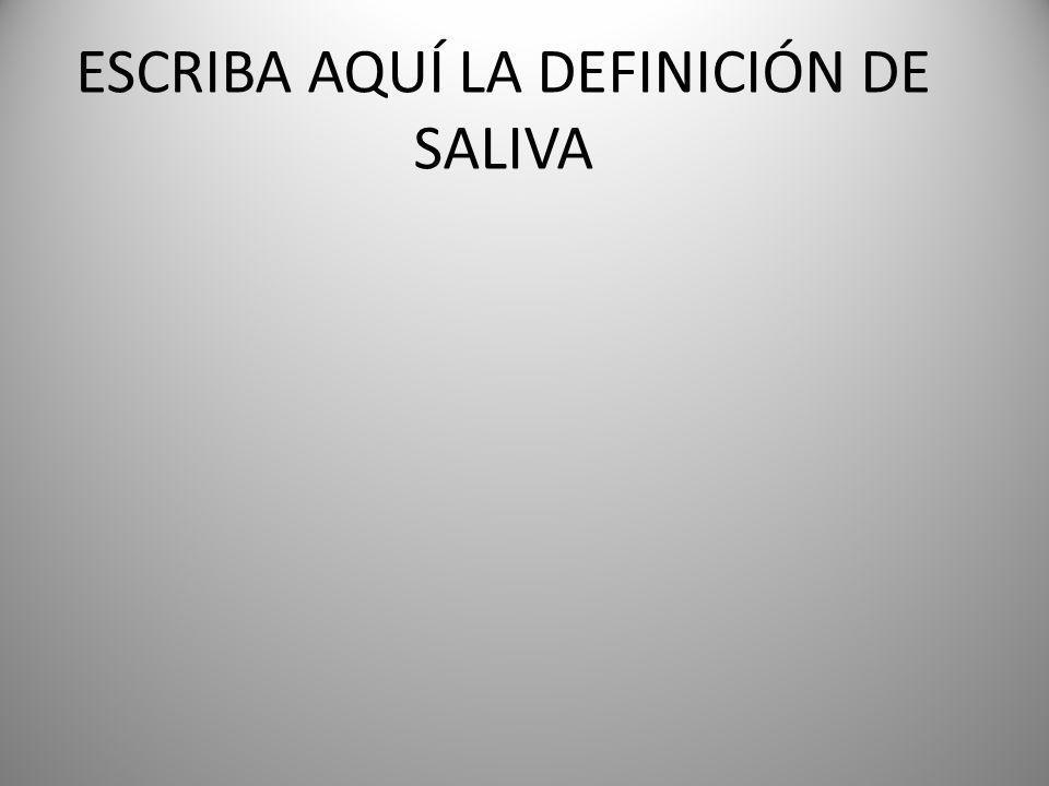 ESCRIBA AQUÍ LA DEFINICIÓN DE SALIVA
