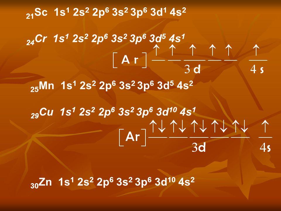 21 Sc 1s 1 2s 2 2p 6 3s 2 3p 6 3d 1 4s 2 24 Cr 1s 1 2s 2 2p 6 3s 2 3p 6 3d 5 4s 1 25 Mn 1s 1 2s 2 2p 6 3s 2 3p 6 3d 5 4s 2 29 Cu 1s 1 2s 2 2p 6 3s 2 3