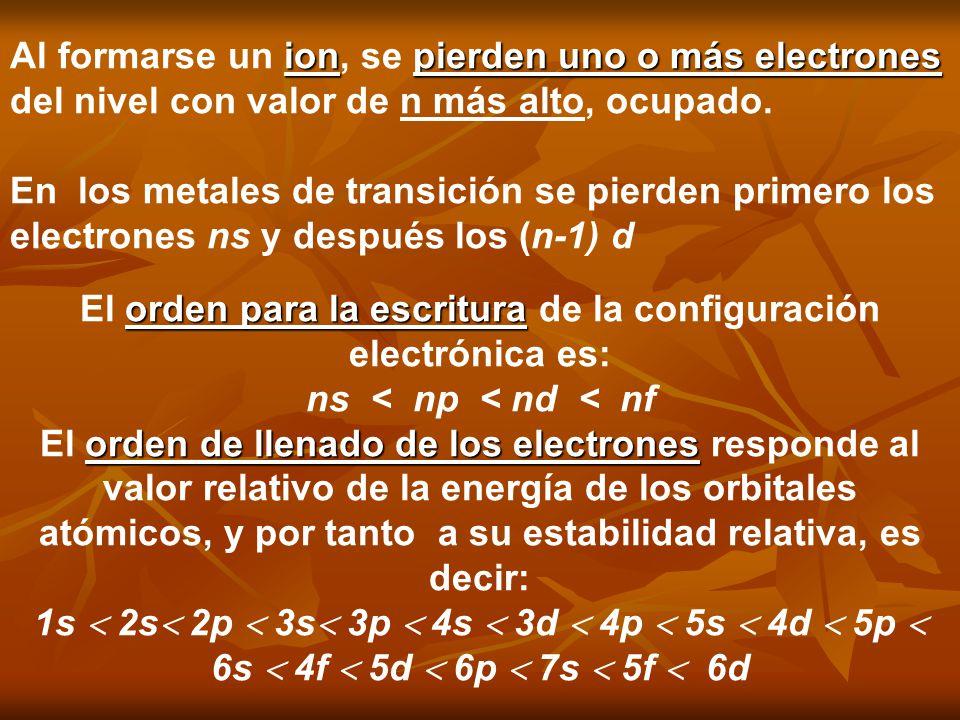 ionpierden uno o más electrones Al formarse un ion, se pierden uno o más electrones del nivel con valor de n más alto, ocupado. En los metales de tran