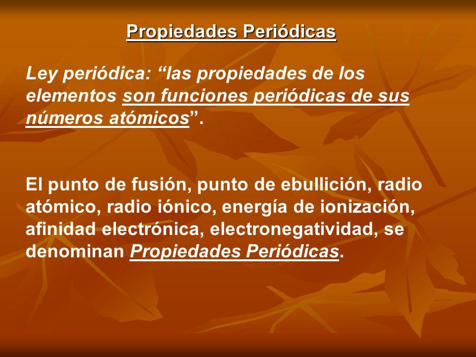 Propiedades Periódicas Ley periódica: las propiedades de los elementos son funciones periódicas de sus números atómicos. El punto de fusión, punto de