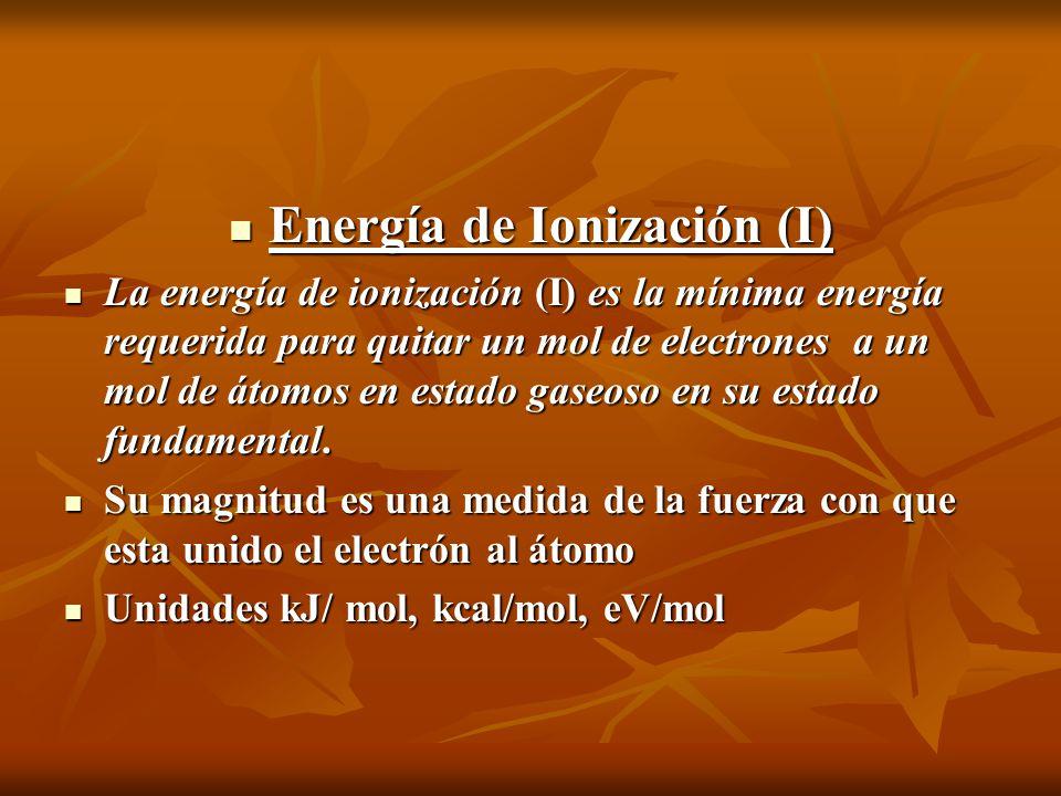 Energía de Ionización (I) Energía de Ionización (I) La energía de ionización (I) es la mínima energía requerida para quitar un mol de electrones a un