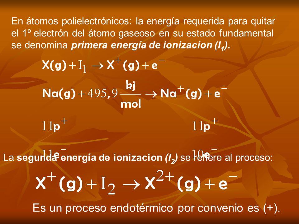 En átomos polielectrónicos: la energía requerida para quitar el 1º electrón del átomo gaseoso en su estado fundamental se denomina primera energía de