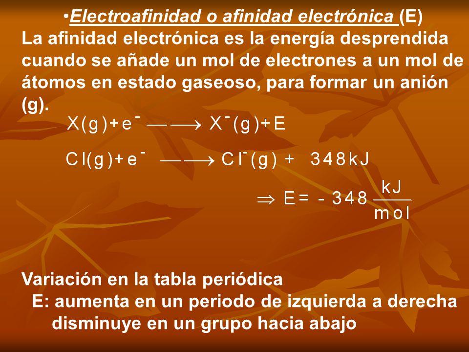 Electroafinidad o afinidad electrónica (E) La afinidad electrónica es la energía desprendida cuando se añade un mol de electrones a un mol de átomos e