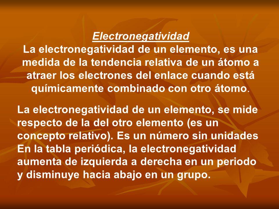 Electronegatividad La electronegatividad de un elemento, es una medida de la tendencia relativa de un átomo a atraer los electrones del enlace cuando