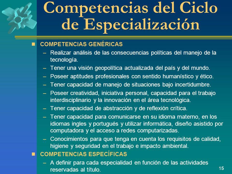 15 Competencias del Ciclo de Especialización COMPETENCIAS GENÉRICAS –Realizar análisis de las consecuencias políticas del manejo de la tecnología.